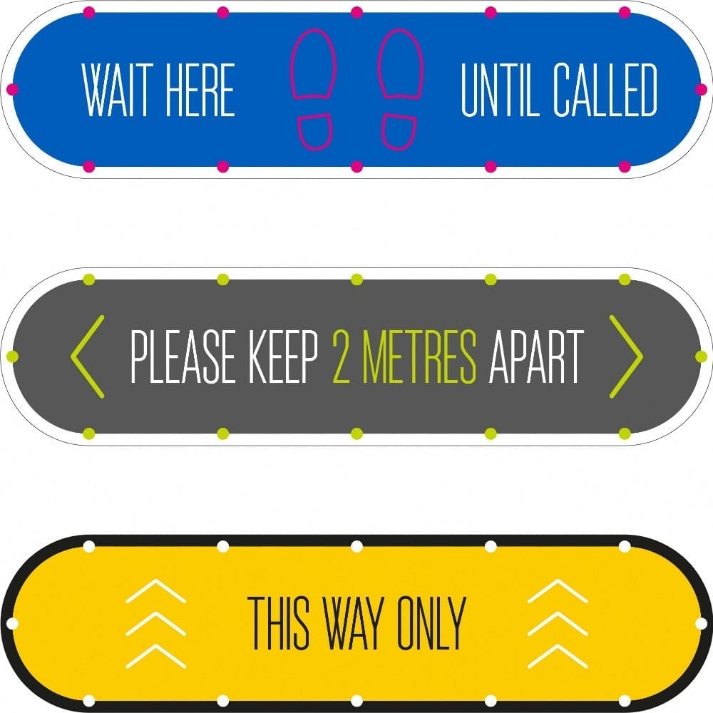social distancing graphic floor stickers, landscape sign internal
