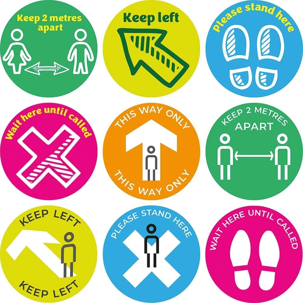 Education social distancing signs & stickers for schools and collages