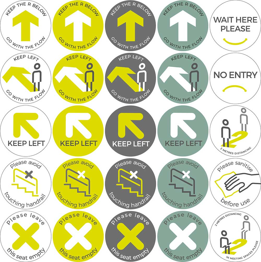 Hey! Social distancing floor stickers for offices, retail premises and other public areas, Signbox